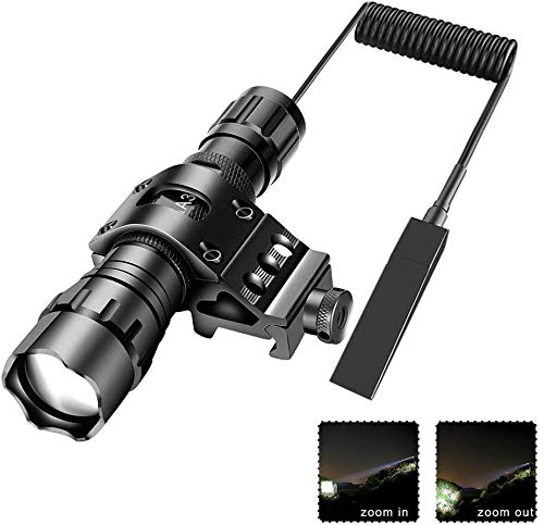 Tactical Flashlight Zoomable 1200 Lumens Waterproof with Mount, Rechargeable Battery, Pressure Switch, Self Defense, Camping
