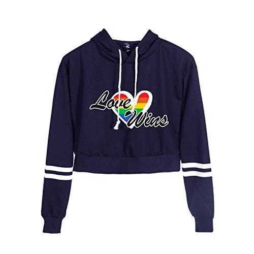 BienBien Felpa con Cappuccio Crop Top LGBT Love Lettere Stampa Hooded Pullover Sweatshirt Casual a Maniche Lunghe Camicetta Tops per Ragazze e Donna