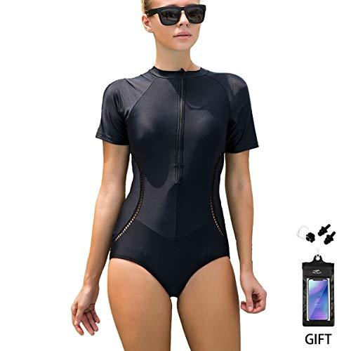 FOCLASSY Bikini Damen Sport Bikini Badeanzug One Piece Long Sleeves Plus Size Reißverschluss vorne Push Up Bademode mit Chest Pad-10129 (10130 Short, XXXL/EU 42-44)
