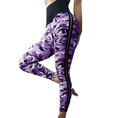 Richren Damen Fitness Leggings, Camouflage Plissee Gemusterte Yogahosen für Frauen Training Sport Laufen Leggings Sporthosen Fitnesshose