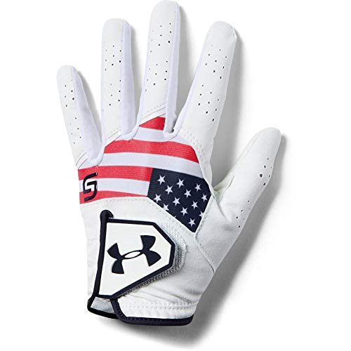 Under Armour Boys' CoolSwitch Golf Gloves - Spieth Jr. Edition , Red (600)/Midnight Navy , Left Hand Large