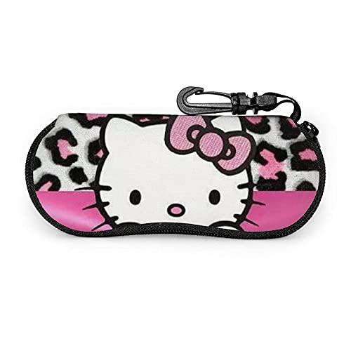 Rosa Leopard Hello Kitty Brillenetui Tragbare Neopren-Reißverschluss-Sonnenbrillenetuis Mit Schlüsselanhänger Unisex Langlebig Leicht