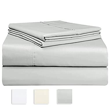 "Premium 1000 Thread Count 4pc Sheet Set, 100% Long Staple Cotton Silver Queen Sheets, Luxurious Smooth Sateen Weave Bed Sheets fits upto 17"" Deep Pockets (Light Grey Queen Cotton Sheet)"
