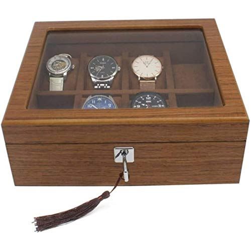 Serie De Organización De Almacenamiento Y Exhibición De Caja De Reloj De Madera De 8 Ranuras con Tapa De Vidrio