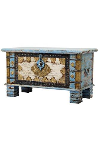 Orientalische Truhe Kiste aus Holz Ezgi 80cm groß in Antik | Vintage Sitzbank mit Aufbewahrung für den Flur | Aufbewahrungsbox mit Deckel im Bad | Betttruhe als Kissenbox oder Deko im Schlafzimmer