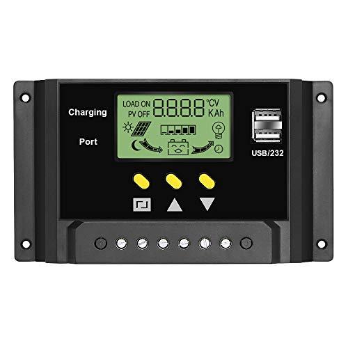 ALLPOWERS 12V-24V Controlador Carga Inteligente Panel Solar 30A Parte USB, Pantalla LED con Puertos USB Duales