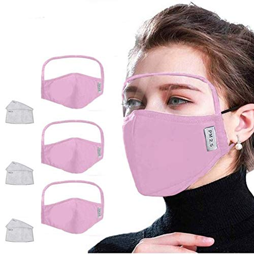 Gokeop 100% Cotton Outdoor Haze Dust Face Health Protection Face Bandanas with Eyes Shield (PVC) + 2 Filters (In Total 3pcs + 6Filter), Protect Eyes, Nose and Mouth (Pink)