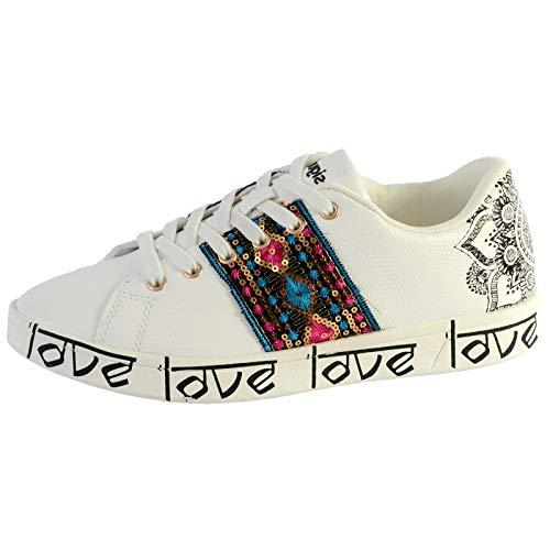 Desigual Shoes Cosmic Exotic Ind, Scarpe da Ginnastica Donna, Bianco Blanco 1000, 39 EU