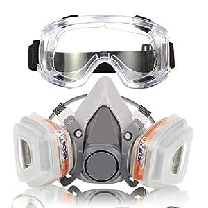 41WhvljjFHL. SS300  - Respirador Máscara de Gas Reutilizable con Gafas de Seguridad Protección Respiratoria Semimáscara con Doble Filtro para Pintura, Polvo, Productos Químicos, Lijado a Máquina, Formaldehído
