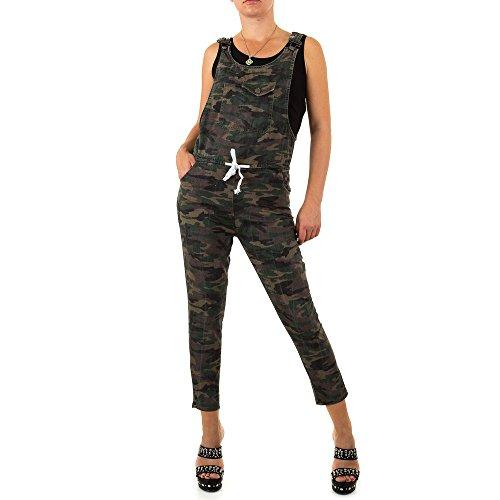 Ital-Design Jumpsuit Camouflage Latz Hose Für Damen, Grün In Gr. M