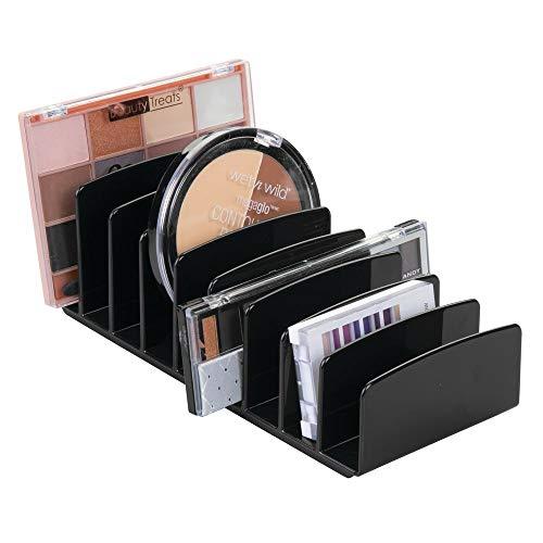 mDesign Kosmetik Organizer aus Kunststoff – Schminkaufbewahrung mit 9 Steckplätzen – Aufbewahrungsbox für den Waschtisch, Schminktisch oder Schrank – schwarz