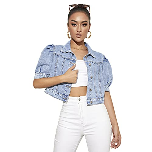 GNEHSL Chaqueta Corta de Mezclilla para Mujeres - Puff Sleeve Baggy Basic Transition Coats, with Button Streetwear Classic Cropped Sleeve Lapel Jeans Outerwear,For Female Small Tops,Light Blue,XS