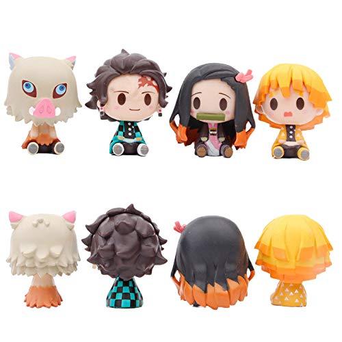 Earlyad Figuras de Demon Slayer, 4 Piezas Demon Slayer Figura de acción, Kimetsu No Yaiba Q Posket Petit, PVC Anime Character Model Collective Toy Gift para la decoración del hogar
