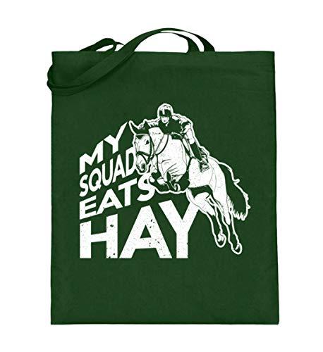 PlimPlom My Squad Eats Hay Tasche - Reitsport Pferde Reiter Spruch Beutel - Jutebeutel (mit langen Henkeln) -38cm-42cm-Grün