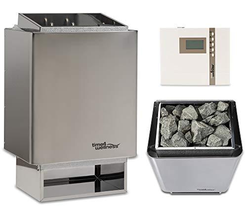 Sauna-Set EOS 34.A Saunaofen mit Saunasteuerung und Saunasteine time4wellness (6 kW, Saunasteuerung...