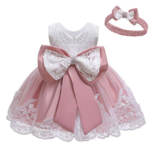 LZH Baby Girl's Lace Elegant Embroidery Flower Bridesmaid Bowknot Dress (Bean Powder;0-3 Months)