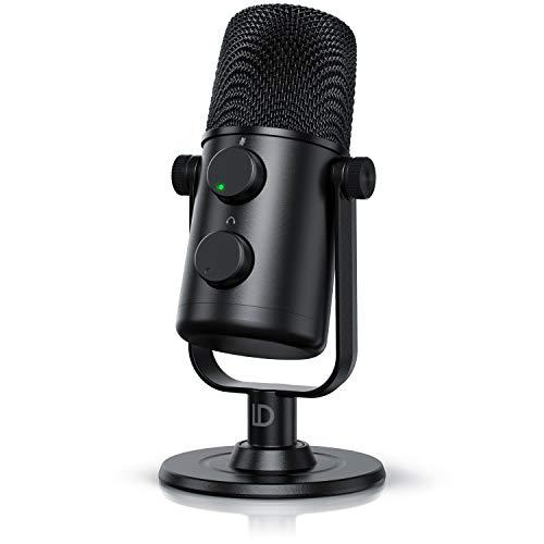 Liam&Daan – Mini Microfono a condensatore USB C professionale – Cardioide - 20 20000Hz – Sample rate fino a 48 Khz 16 bit – 110 dB – Uscita cuffie – Volume mic e cuffie – Con asta supporto da tavolo