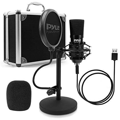 USB Microphone Podcast Recording Kit - Audio Cardioid Condenser Mic w/Desktop Stand and Pop Filter - for Gaming PS4, Streaming, Podcasting, Studio, YouTube, Works w/Windows Mac PC - Pyle PDMIKT120