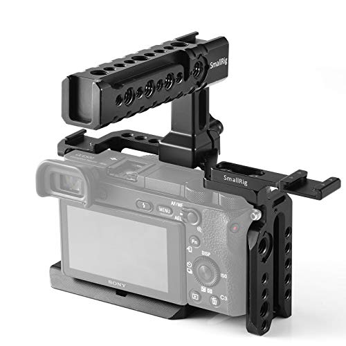SMALLRIG Cage Kit for Sony Alpha A6500 with NATO Handle and Cold Shoe Mount for Handheld Shooting – 2081