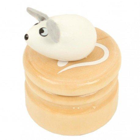 Boite à dents de lait souris blanche boîte en bois couvercle à visser enfant 5 +