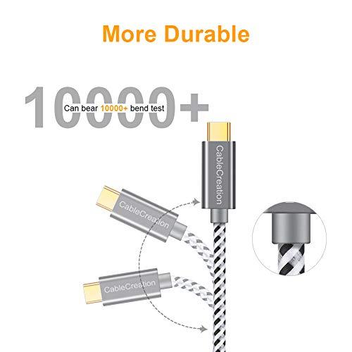 CableCreation USB C Typ C Kabel, Geflochtene Type C Schnellladekabel kompatibel mit Macbooks, Samsung Galaxy S8/9 Plus, Huawei P20 P30, Sony Xperia XZ Xa1 Z5, HTC10 usw, 3m Grau