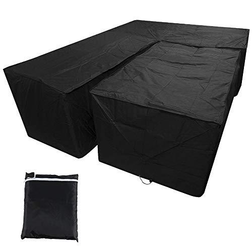 L-förmige Gartenmöbel-Abdeckung-Set mit Schreibtischbezug, wasserdicht, für Terrasse, staubdicht, für den Außenbereich, Sofa-Schutz mit Aufbewahrungstasche, 215 x 215 x 87 cm, schwarz