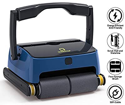 QOMOTOP Robotic Pool Cleaner, Automatic Wall-Climbing Swimming Pool Cleaners Vacuum, with 4 Powerful Scrubbing Brushes for Waterline and 2 Large Filter Baskets, Ideal for Above/In- ground Swimming