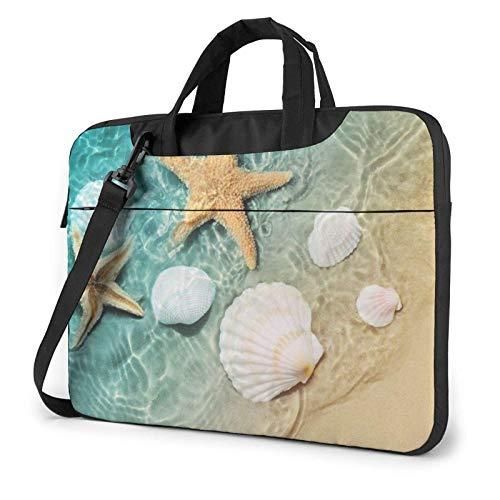 Laptop Shoulder Bag,Starfish and Seashell Pattern Shockproof Laptop Sleeve Cover Business Messenger Bag Briefcase Handbag Case 15.6 inch
