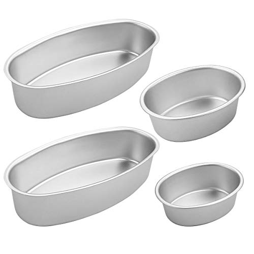 Amersumer 4 Pcs Non-Stick Aluminum Cheesecake Pan Oval, Cake Pan Mold for Oven, Meatloaf Bread Mold Pan Set for Home, Bakery and Kitchen, Perfect for Japanese Cheesecake (3 in x 1, 4 in x 1, 8 in x 2)