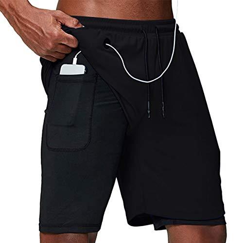 Yidarton Shorts Herren Sport Sommer 2 in 1 Kurze Hosen Schnelltrocknende Laufshorts Fitness Joggen und Training Sporthose mit Taschen (405-schwarz, Medium)
