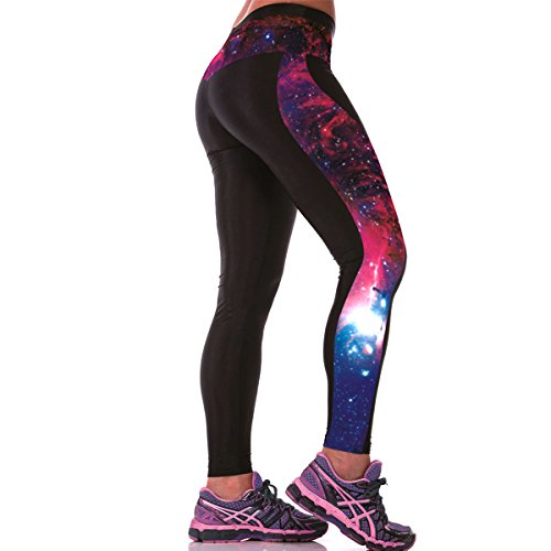 GO HEAVY Damen Motiv Yoga Sportleggings Fitness Gym Tights Pants Allover Print Galaxy - One Size