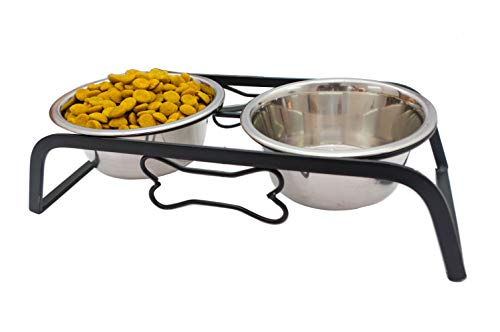NAAZ PET SUPPLIES Rustic Bone Diner Wrought Iron Stainless Steel Food and Water Bowl with Iron Stand for Medium Dogs and Cats (900ml x 2 Bowls)