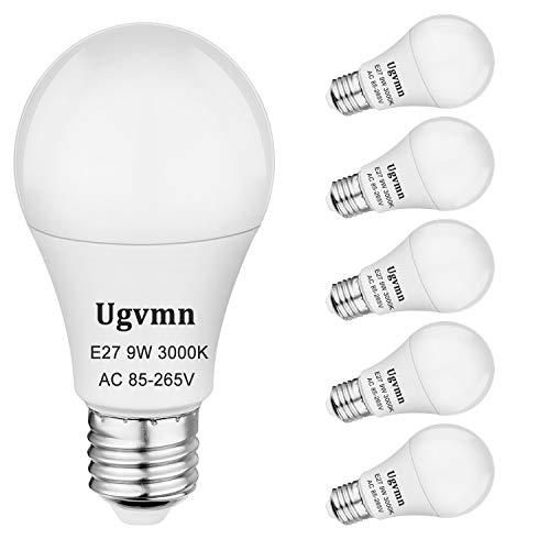 E27 LED Edison Screw Glühbirne 9W Entspricht 60W Glühlampen, led leuchtmittel e27, A60 E27 Fassung LED Energiesparlampe Warmweiss 3000K, 820LM, kein Flimmern, kein Dimmbar, AC 85-265V, 6er Pack