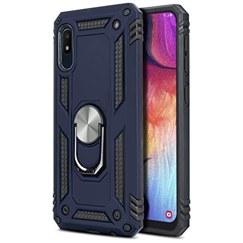 CasemartUSA Phone Case for [Samsung Galaxy A10E], [Loop Series][Navy Blue] Full Rotating Metal Ring Cover with Kickstand for Galaxy A10E (Tracfone, Simple Mobile, Straight Talk, Total Wireless)