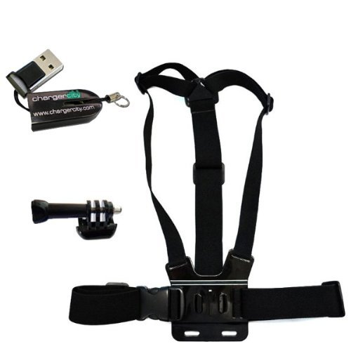 ChargerCity 3-Way Adjustment Base Mount + Adjustable Elastic Body Chest Strap Shoulder Belt for GoPro HD Hero4 Hero 1 2 3 4 Black Silver Platinum Edition *Include Free ChargerCity MicroSD Memory Card Reader to access your Camera's Memory card* [並行輸入品]