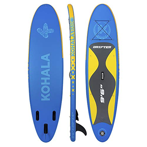 KOHALA Tabla de Paddle Surf Drifter Color Azul - Tipo Beginner - Capacidad Máxima 100 kg - Aletas 3 (2+ 1)