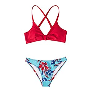 CUPSHE Women's Red Floral Print Knot Adjustable Bikini Sets Two Piece Bathing Suit