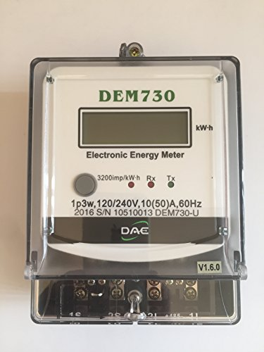 DAE DEM730P Electric kWh Submeter, RS485, 1P3W (2 Hot wire, 1 Neutral), 120/240V, 50A, Internal CT