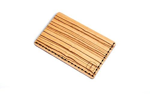 BeWooden Tarjetero de piel y madera Linea Note – tarjetero de cuero para hombre – tarjetero para 25 tarjetas de visita y para 7 tarjetas de credito – tarjetero rigido y duro – tarjetero marrón