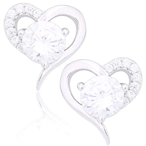 AiA - Orecchini da donna a forma di cuore, in argento Sterling 925 rodiato, con zirconi, set da 2