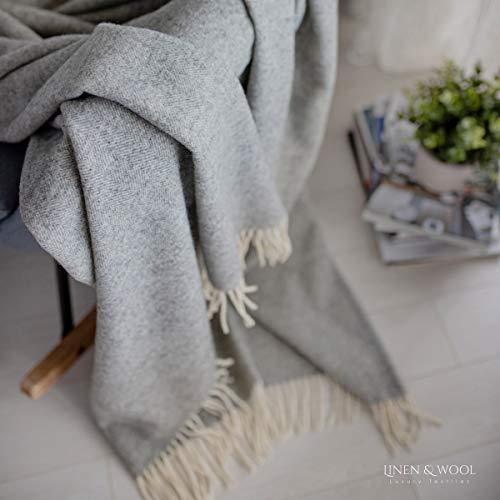 Linen & Cotton Clásica y Elegante Manta para Sofa de Lujo Stonewold - 100% Pura Lana Merino, Gris Claro (140 x 200 cm) Colcha de Cama Manta de Tiro Plaid Blanket Single Matrimonial de Lana Oveja
