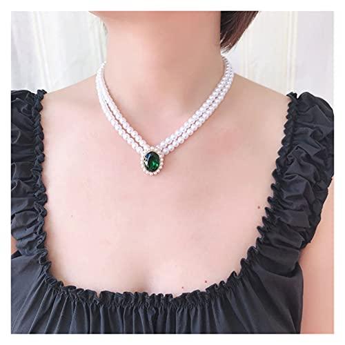 KGDC Collares Collar de Encanto Colgante Verde Elegante, Collar romántico de Doble Capa Gargantilla de Perla Collars de Mujer (Metal Color : with Pearl 42cm)