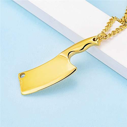 HANYF Küchenmesser Titan Stahl Halskette, Vielseitige Herrenbekleidung Zubehör Zubehör, Tägliche Abnutzung,Gold