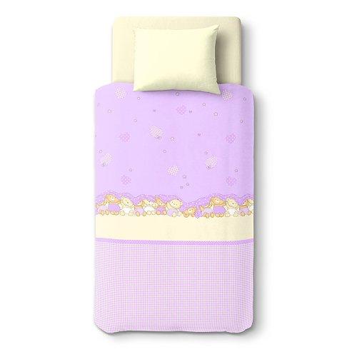 SoulBedroom Trois Oursons 100% Coton Linge de lit pour bébé (Taie d'oreiller et Housse de Couette 100x140 cm)