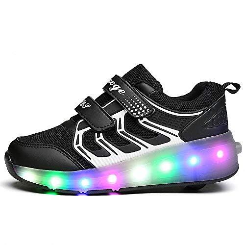 CBA BING Laufschuhe Sportschuhe Kinder Skateboard Schuhe, LED Roller Skate Schuhe Sneakers,Einzelrad,Laufschuhe Sneakers mit Rollen,Schwarz,33