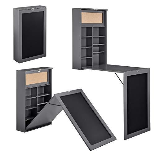[en.casa] Klappschreibtisch Schreibtisch zum Ausklappen Wandklapptisch mit Tafel und Pinnwand Dunkelgrau
