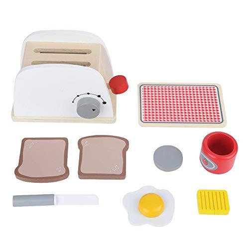 Longzhuo Juego de juguetes de cocina, juego de simulación de madera, tostadoras para hacer pan, licuadora, kit de hornear para niños (máquina de pan)