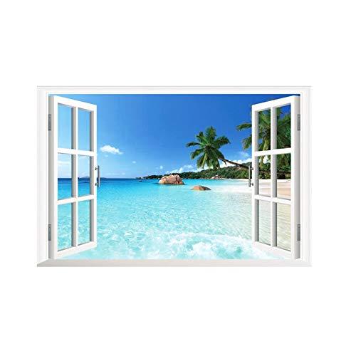 Adhesivo decorativo para ventana de Navidad, 60 x 90 cm, diseño 3D, para pared, diseño de paisaje marino, para dormitorio, sala de estar, habitación de los niños