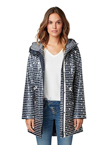 TOM TAILOR Damen Jacken Gefütterter Regenmantel Navy Stripes and dots,L