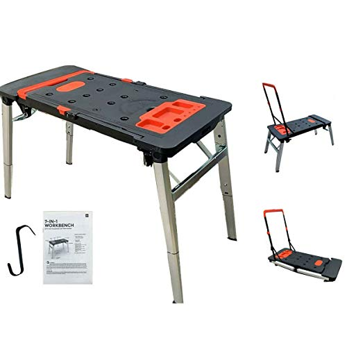 DOMINTY 7-in-1 Multi-Function Portable Folding Workbench/Platform Scaffold/Creeper Carrier/Hand Truck - 550-Lb. Capacity